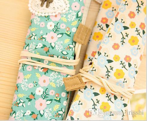 Doble cremallera lápices Pastoral pequeña papelería floral bolsa de aprendizaje suministros