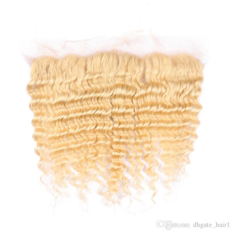 #613 Blonde Ear to Ear 13x4 Lace Frontal Closure With 3Bundles Deep Wave Bleach Blonde Virgin Malaysian Human Hair Weaves