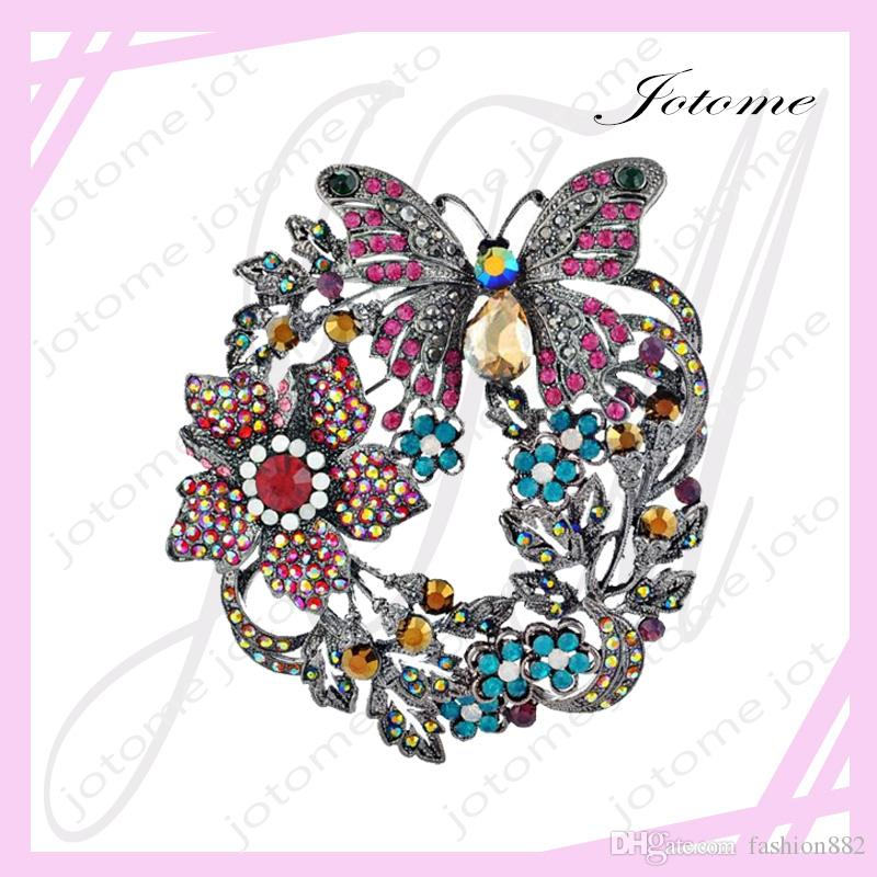 Butterfly Brooch Women Jewelry Accessories Brooch Vintage White & Gold Plated Colorful Flower Large Collar Pin Fashion Jewelry