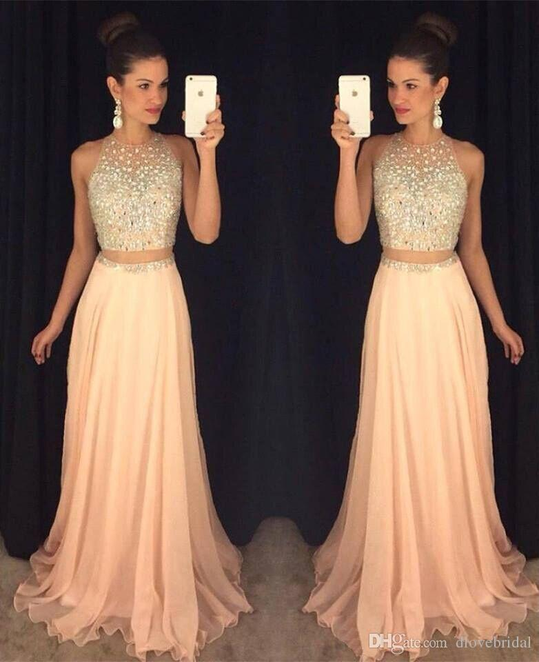 New Cheap Illusion Two Pieces Prom Dresses Jewel Neck Yellow Peach Chiffon Long Crystal Beads Open Back Party Dress Evening Gowns