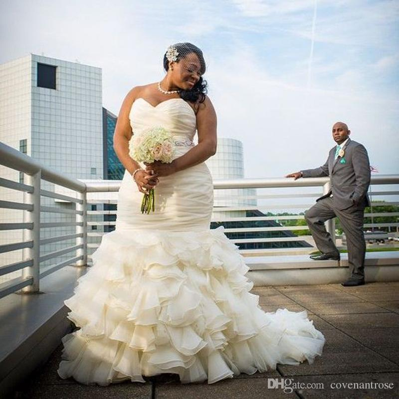 Vintage Plus Size Mermaid Wedding Dresses Ruched Cascading Ruffles Sweetheart Floor Length Long Dubai Arabic Bridakl Gowns