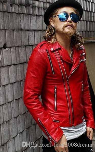 2016 Artículos de moda para hombre abrigo rojo con cremallera diseño corto chaquetas de cuero abrigos abrigos