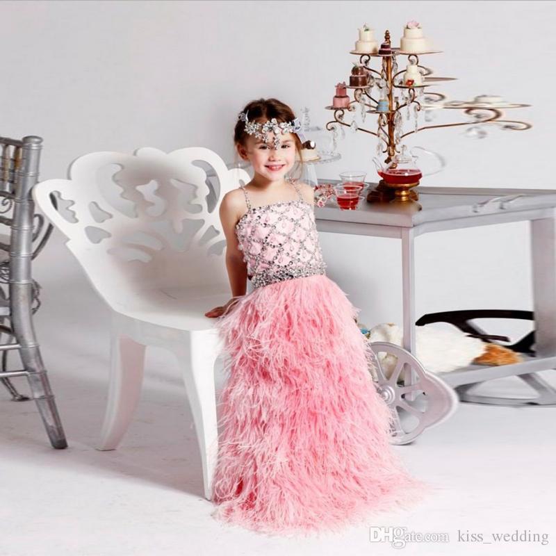 Compre Bling Bling Cristales Niñas Vestido De Fiesta Con Plumas De ...