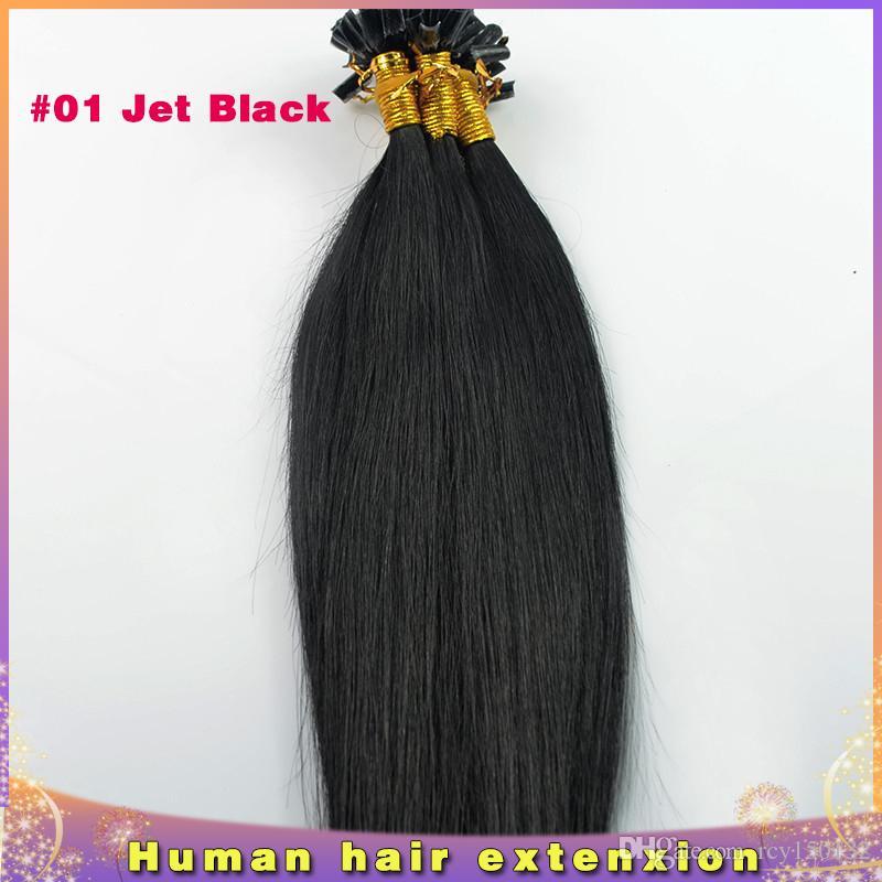 브라질 처녀 머리카락 스트레이트 u 팁 머리 확장 # 1 제트 블랙 100g 100s 각질 스틱 팁 인간의 머리카락