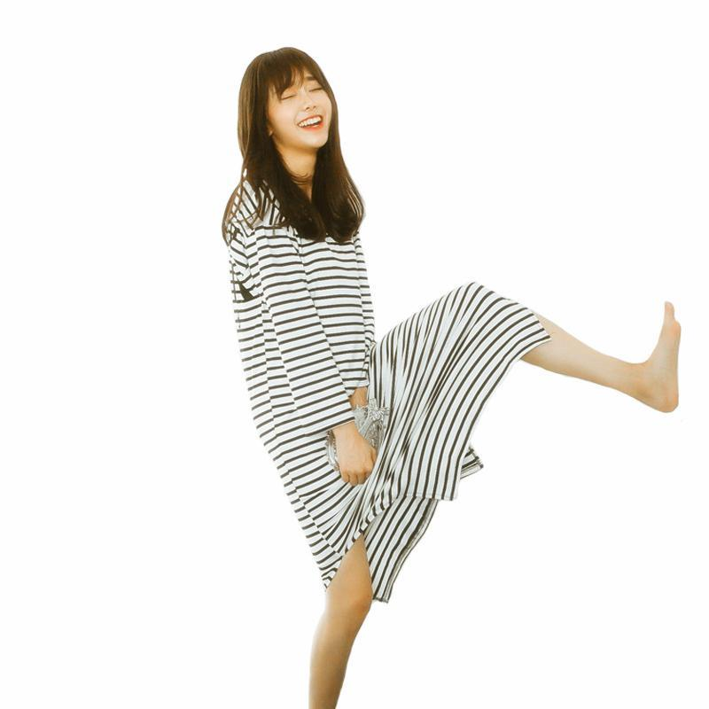 b781c0198a Autumn 2017 Fashion Women Nightgowns Sleepshirts Long Sleeve Nightwear Silk  Sleepwear Night Dress Striped Soft Cotton Plus Size Girls Dresses Gown From  ...