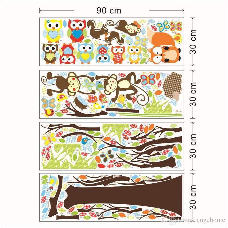 234 * 150 cm wald niedlichen tier affen spielen auf bäumen eulen wandaufkleber wandtattoo diy für kinderzimmer wohnkultur kinder geschenk