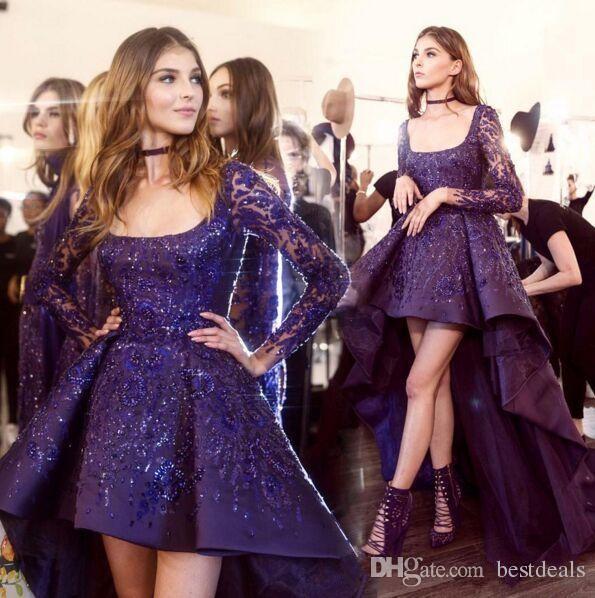Impresionantes vestidos de noche de Zuhair Murad 2017 vestido de cóctel de fiesta de manga larga alta baja Perlas brillantes detalles de ocasiones árabes vestidos de fiesta
