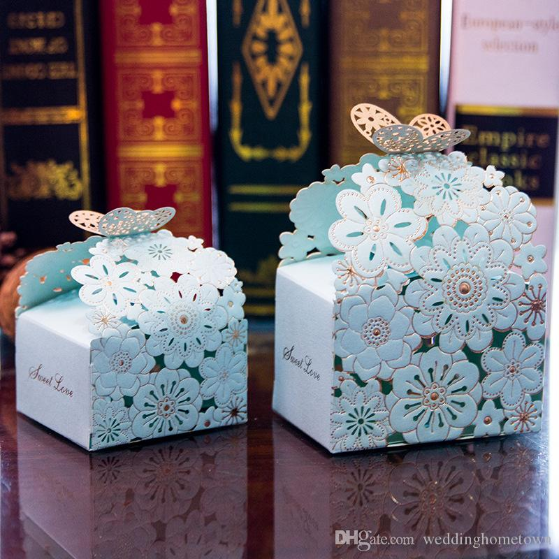 Amazing Card Paper Square Wedding Favor Boxes Laser Cut Candy Gift ...