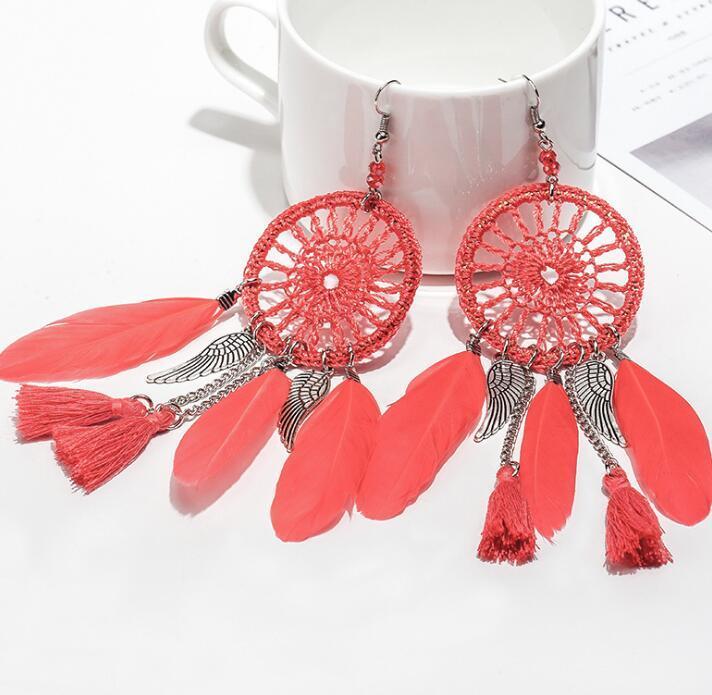 Retro Feather Tassel Wing Earring Vintage Bohemian Dreamcatcher Feather Dangle Earrings for Women Party Jewelry Fashion Ear Accessories