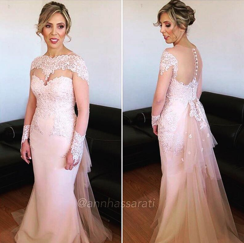 2016 Lace Mermaid Mother Of The Bride Dresses Groom: Pink Lace 2016 Mother Of Bride Dresses Sheer Neck Long