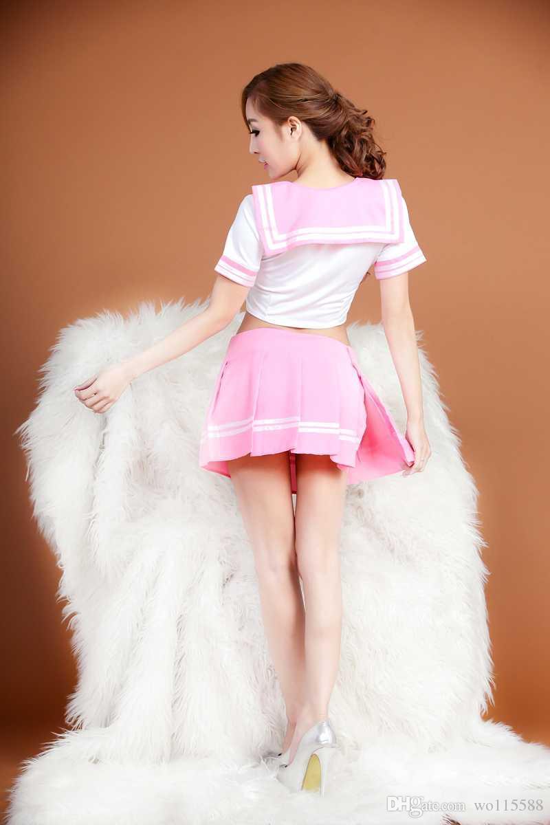 Envío gratis nueva lencería sexy lencería sexy estudiante ropa apretada traje transparente marinero falda real trajes tentación pasión paquete l