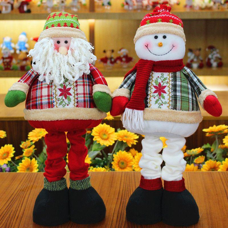 qy802 retractable christmas santa claussnowman dolls standing navidad figurine christmas tree ornaments kids christmas gifts toy german christmas
