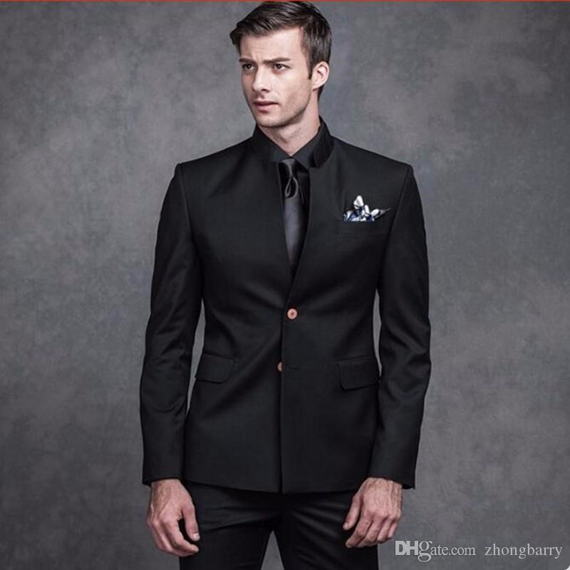 Men Suits Black Mandarin Collar Groom Wedding Suits Tuxedos Single ...