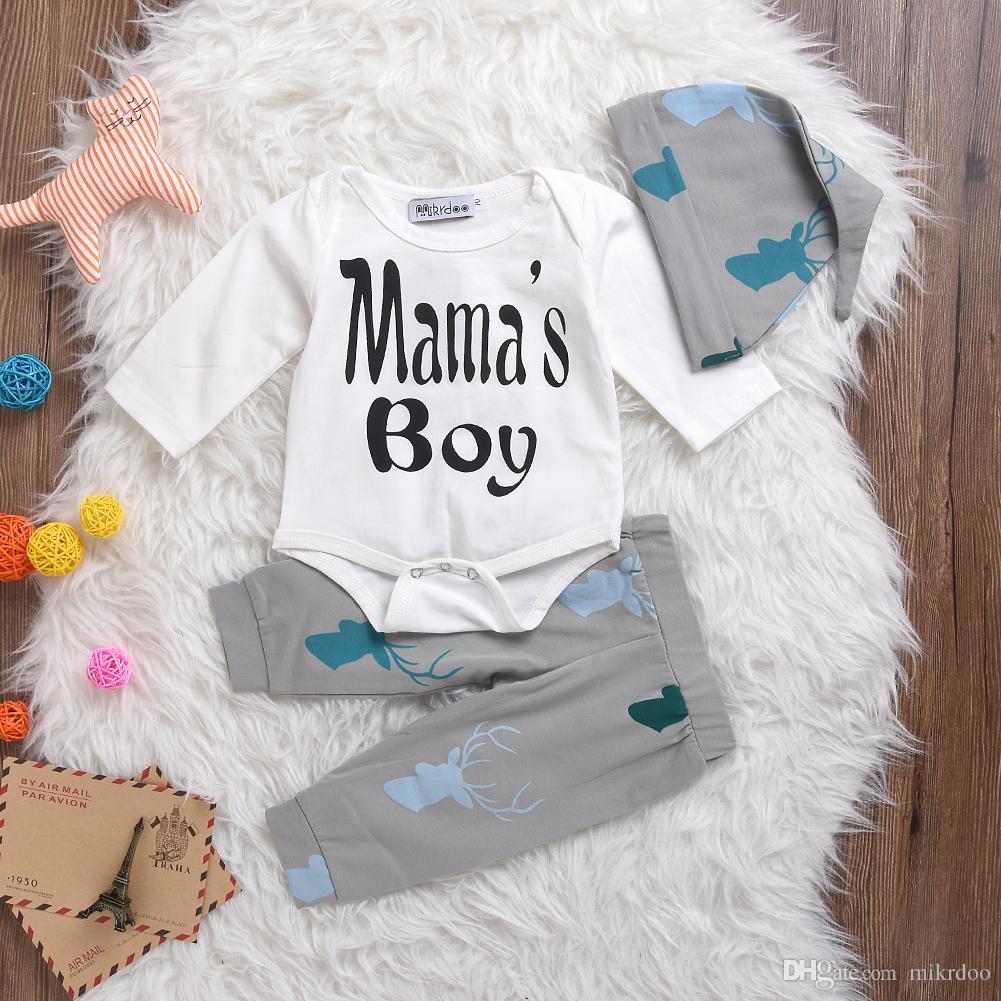 Mikrdoo Noel Bebek Yenidoğan Giysileri Çocuklar Mektup Mama'nın Boy Uzun Kollu Romper Geyik Pantolon Şapka 3 adet Toddler Eşofman Bebek Giyim Suit
