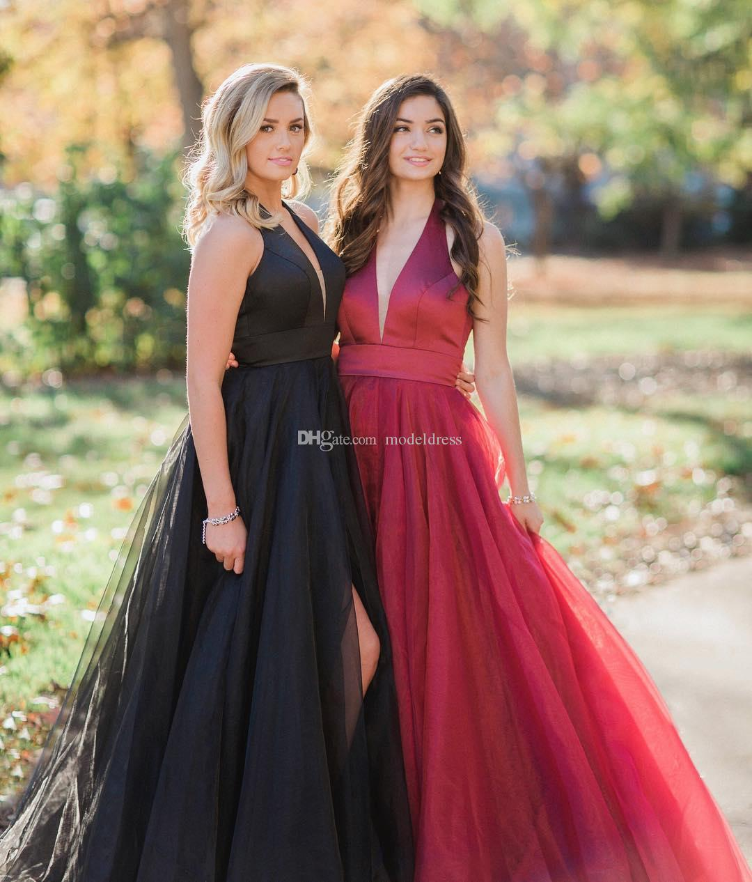 Sexy Open Back Red Black Prom Dresses 2018 Halter Deep V Neck A Line High  Split Long Modest Evening Party Pageant Gowns Cheap Custom Made High Low  Prom ... a9bec1bbe