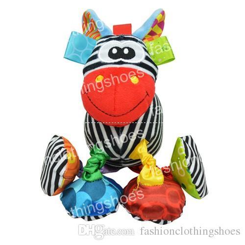 뚱뚱한 아기 진동 봉 제 동물 사자 장난감 격렬 하 게 Crinkle 소리 18 cm 소프트 Stuffed Multicolor 다기능 장난감