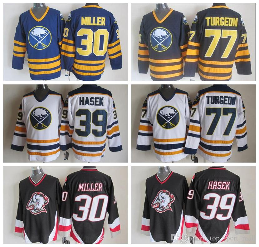 2019 Men Buffalo Sabres 77 Pierre Turgeon Jersey 30 Ryan Miller 39 Dominic  Hasek Blue Black White Ice Hockey Stitched Best Quality From  Top sport mall fcb1b6bf08c