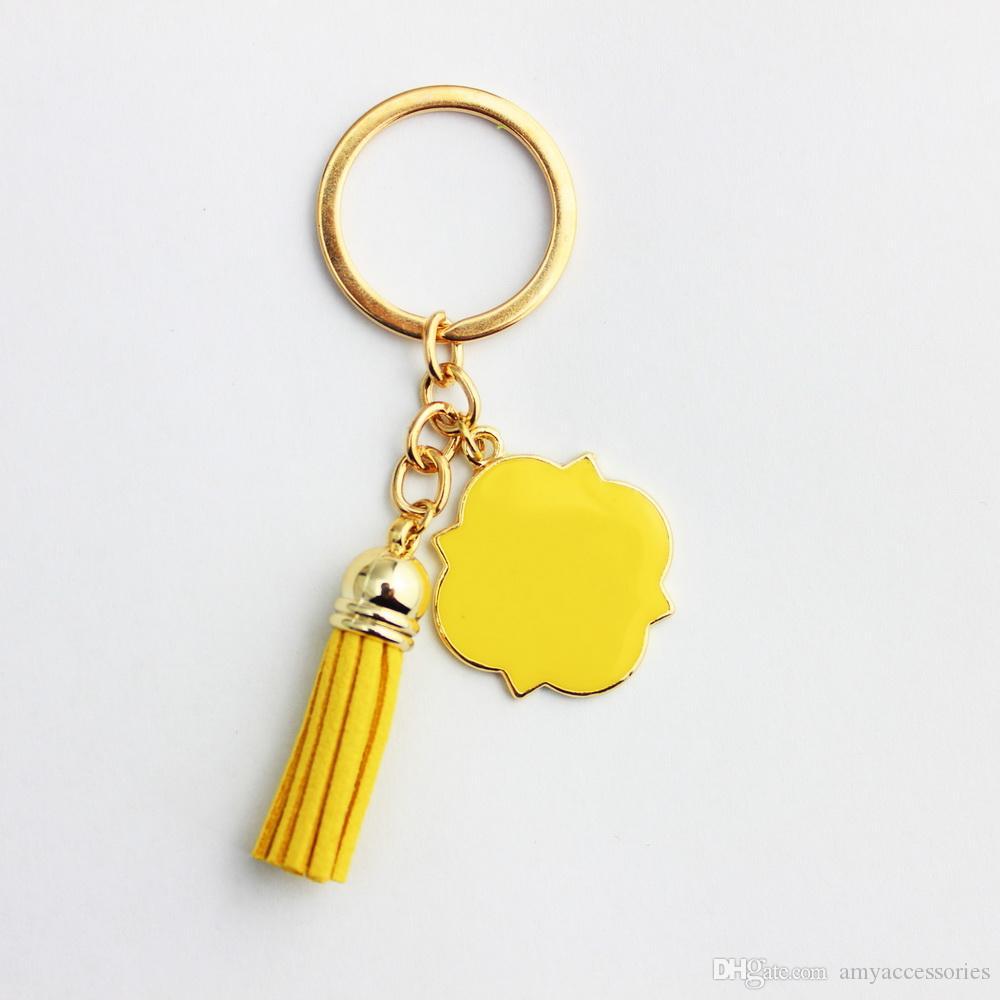 Emaille Monogramm Blanks Samt Leder Quaste Schlüsselanhänger für Männer Auto und Frauen Tasche Anhänger Quatrefoil Monogrammed Wildleder Quaste Keychain