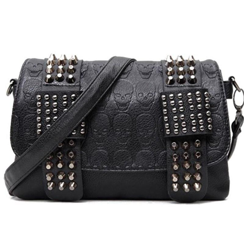 801c4b5f28ca Wholesale- Women Messenger Bags PU Leather Rivet Women Clutch Purse ...
