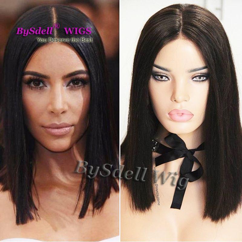 Compre Nova Celebridade Kim Kardashian Curto Preto Penteado Peruca  Sintética Curto Preto Natural Cabelo Liso Rendas Frente Perucas Para Branco    Preto ... 6f783d8c414