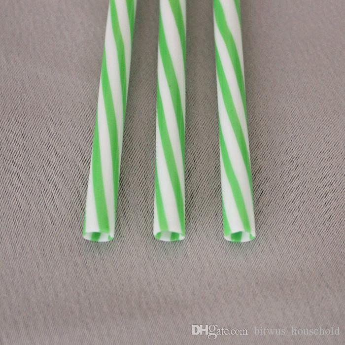 Reusable Biodegradable Distored Color Beverage Hard Plastic Stripe drinking Straws With 1 Free Straw Brush BA17006