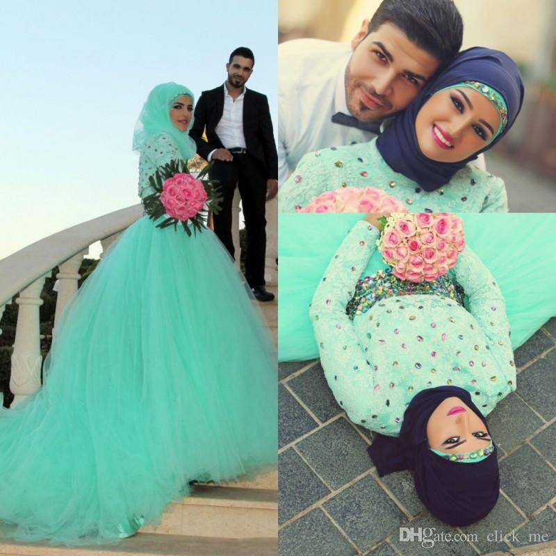 Arabic Dubai Mint Green Muslim Prom Dresses High Neck Lace Beads Crystals Rhinestones Long Sleeves Evening Gowns Robe De Soiree Bridal Dres