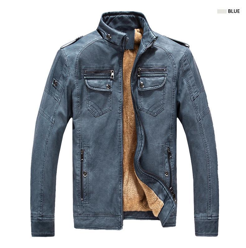 Erkek Ceketler Marka Tasarımcısı Erkekler Deri Ceket Kaban Moda Standı Yaka Slim Fit Kalın Polar Sonbahar Kış için1