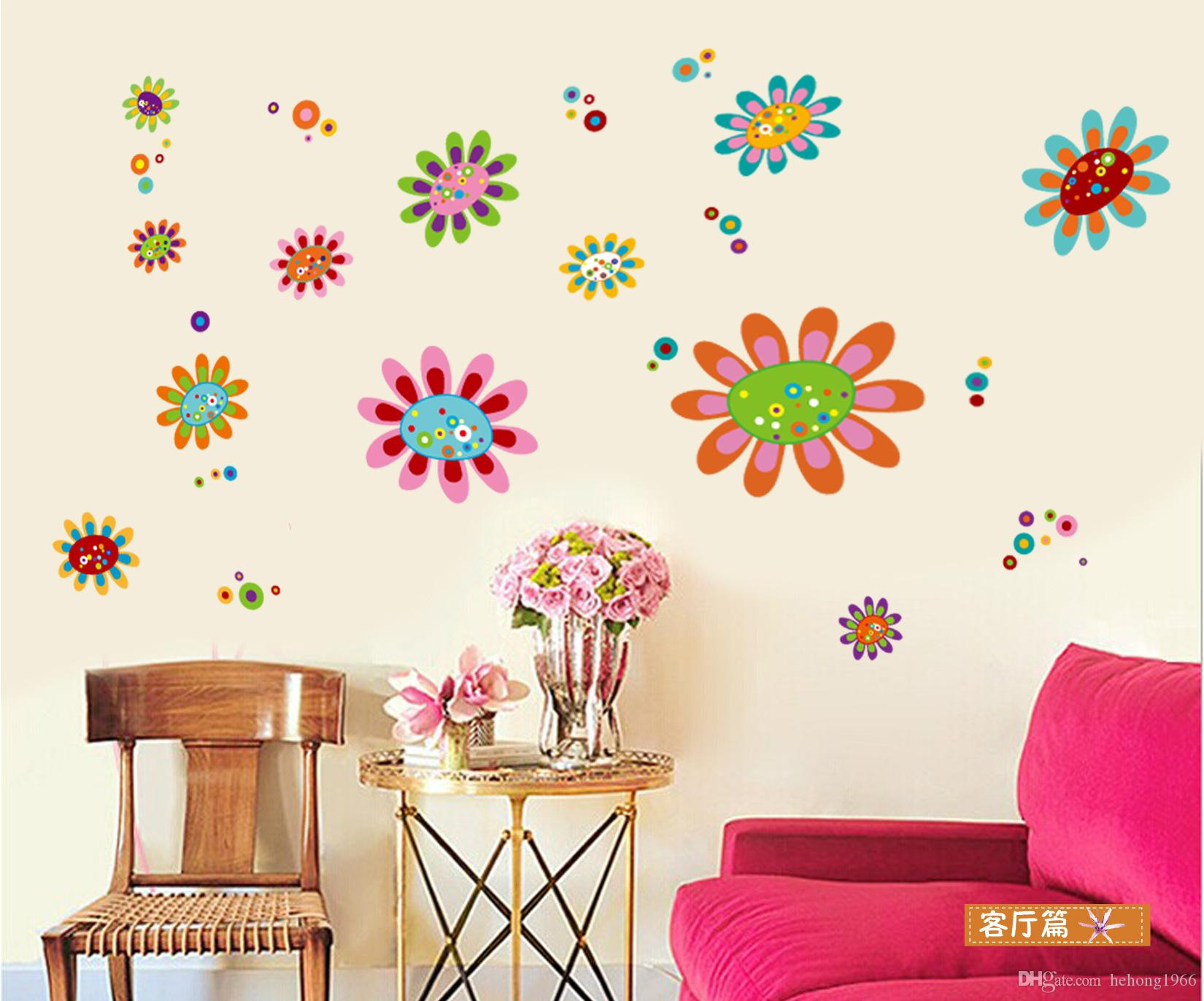 Cartoon flower scenery wallpaper wall stickers mural art pvc vinyl decal removable home decoration best hot sell wall decal 2 8jm j r kids removable wall
