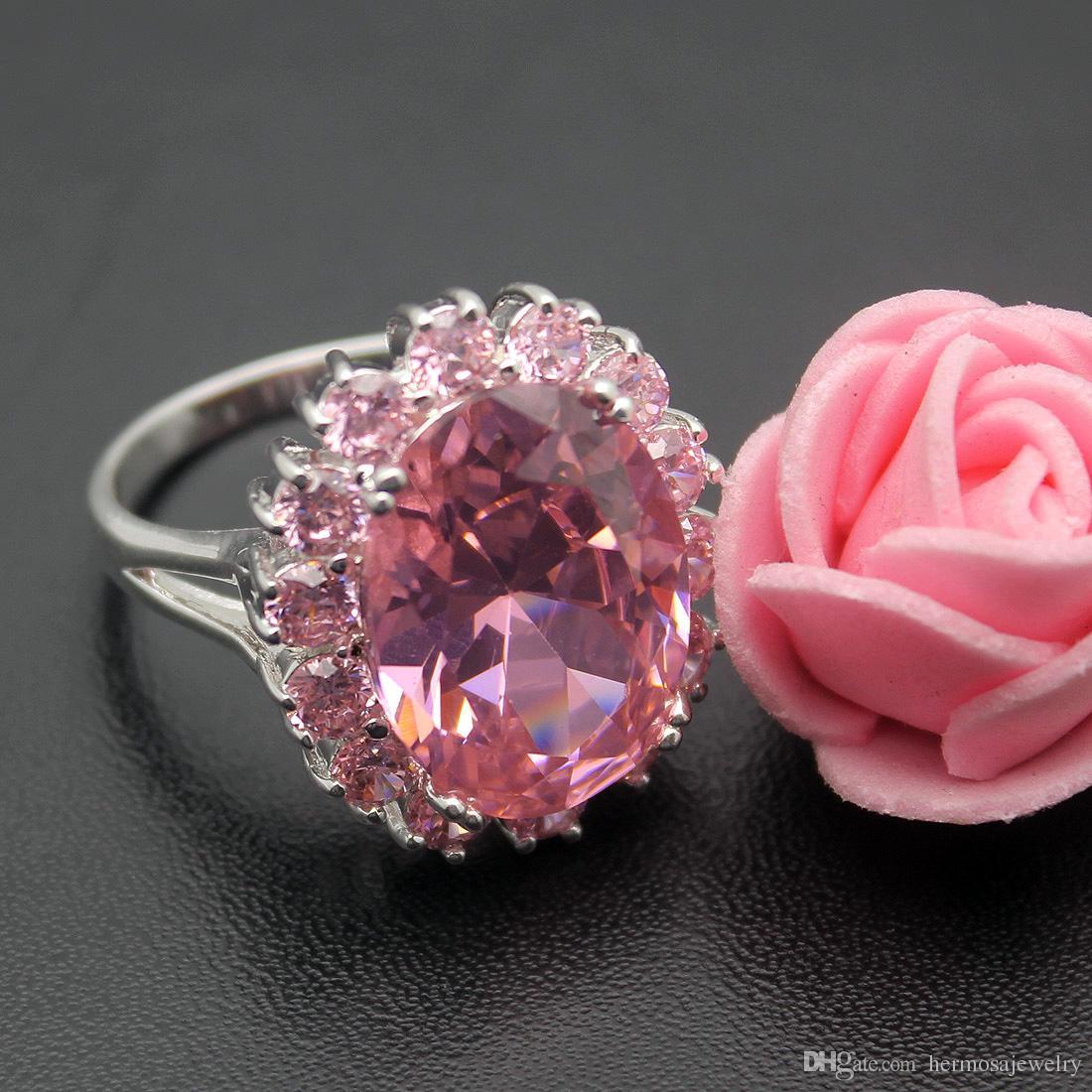 زفاف باند الطوق 925 فضة الزفاف الوردي توباز كونزيتي الأحجار الكريمة كريستال البريق الجملة الحرة الشحن الدائري الحجم 7 8 9