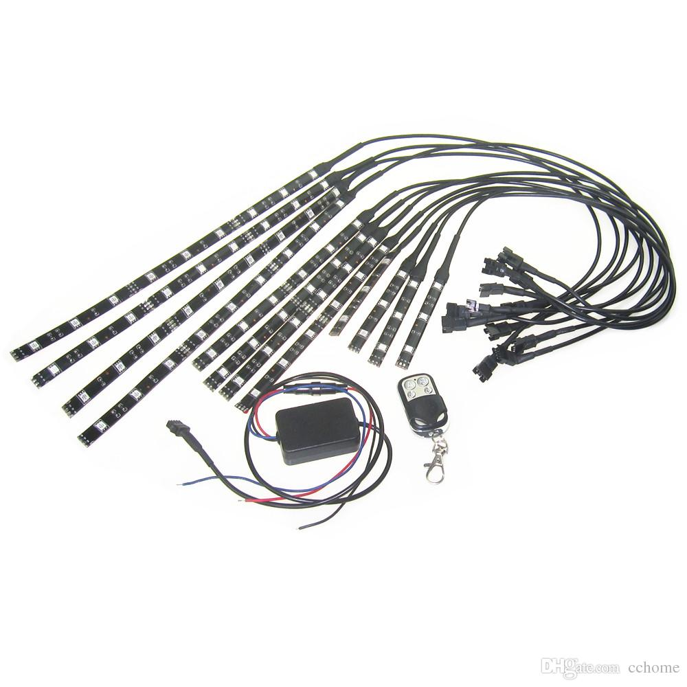 12in1 RVB à commande vocale moto noir flexible LED bande lumière lampe NEON 4 boutons RF à distance Kit