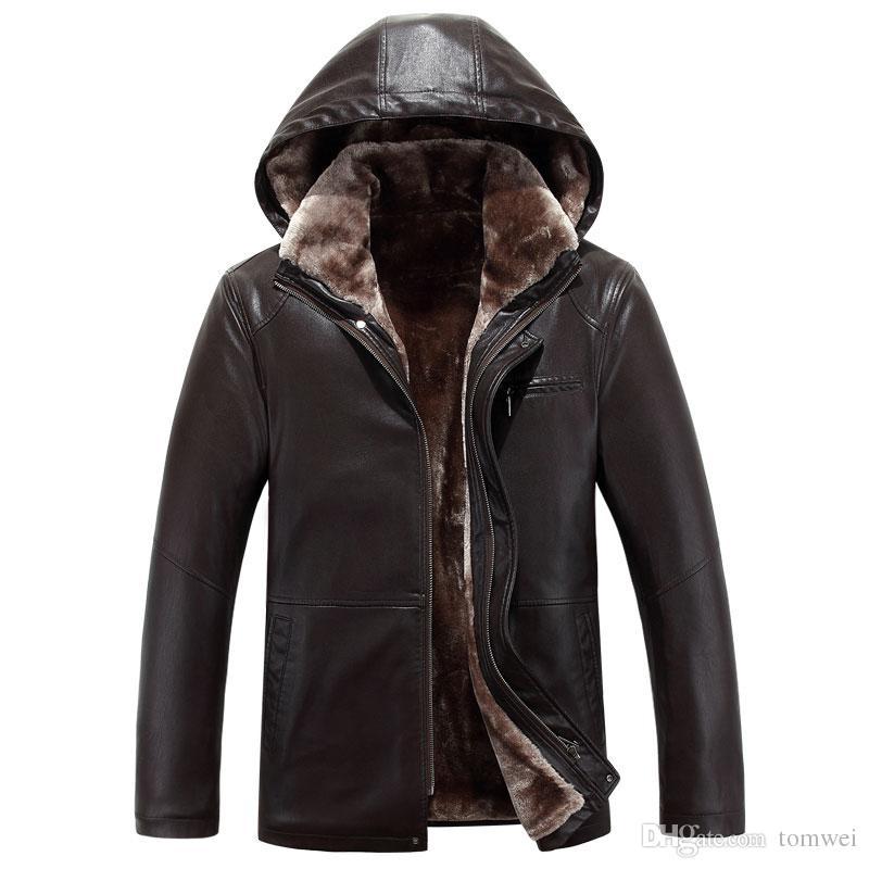 Erkekler PU Deri Ceketler Faux Kürk Kapşonlu Motosiklet Ceketler Sıcak Kalınlaşma Dış Giyim Tops Rüzgarlık Açık Giysiler Artı Boyutu 4XL 2017