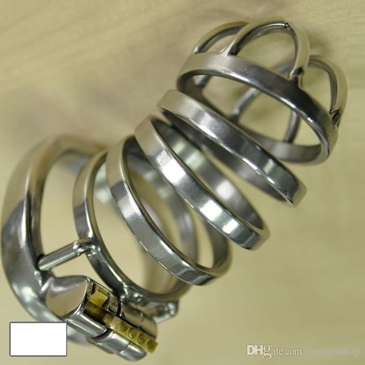 Yeni Özel tasarım 55mm Cock Cage Uzunluğu Paslanmaz Çelik Küçük Erkek Iffet Cihazı Erkekler Için Uzun Cock Cage