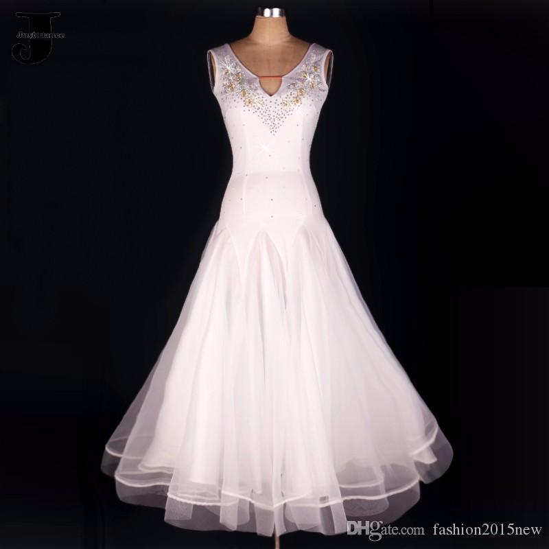 7a91508db0 Vestido de baile 2017 mulheres branco dress para dança de salão para  meninas trajes de competição de dança latina tango valsa vestidos pode  custom fn120