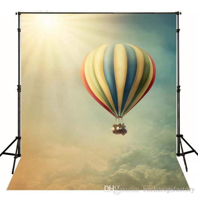 2019 Children Photographic Background Hot Air Balloon Blue Sky
