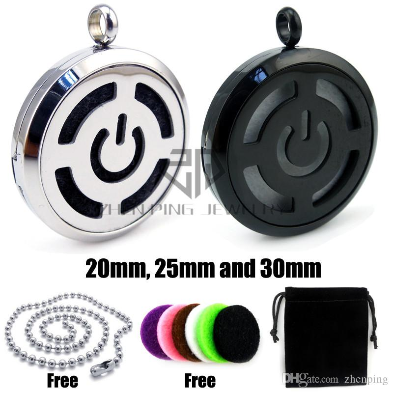 Chain as gifts! Round Black Toned Power Button 20-30mm Aromatherapy / Stainless Steel Perfume Diffuser Pendant Locket