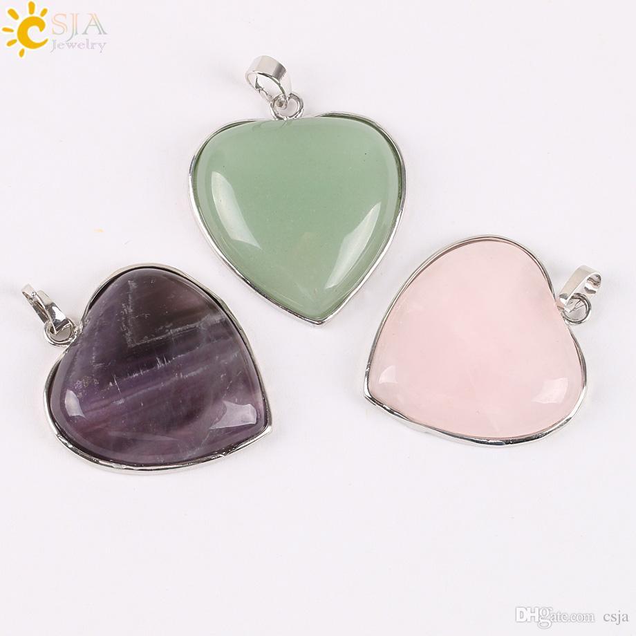 CSJA naturale lapislazzuli ametista verde avventurina quarzo rosa opale perline pietra amore cuore pendente della collana gioielli charms le donne E074 A