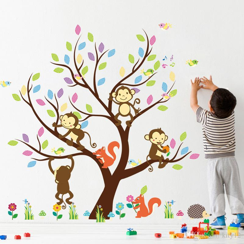 New Carton Wall Sticker decor wallpaper The Monkey Climbing the Tree Funny Stickers for Children's Room