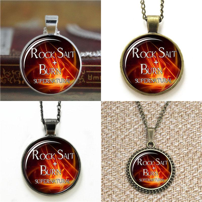 10pcs Supernatural Rock salt and burn dean winchester sam Glass Photo  Necklace keyring bookmark cufflink earring bracelet