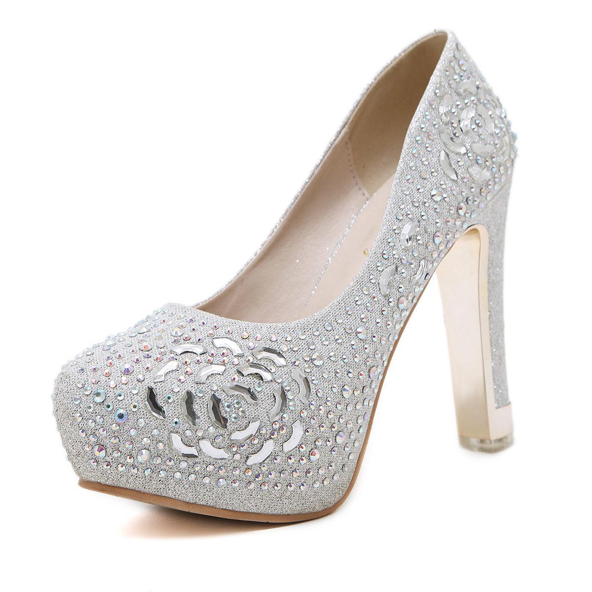 Hot Sale 12CM Heels Women'S Fabulous Rhinestone Wedding