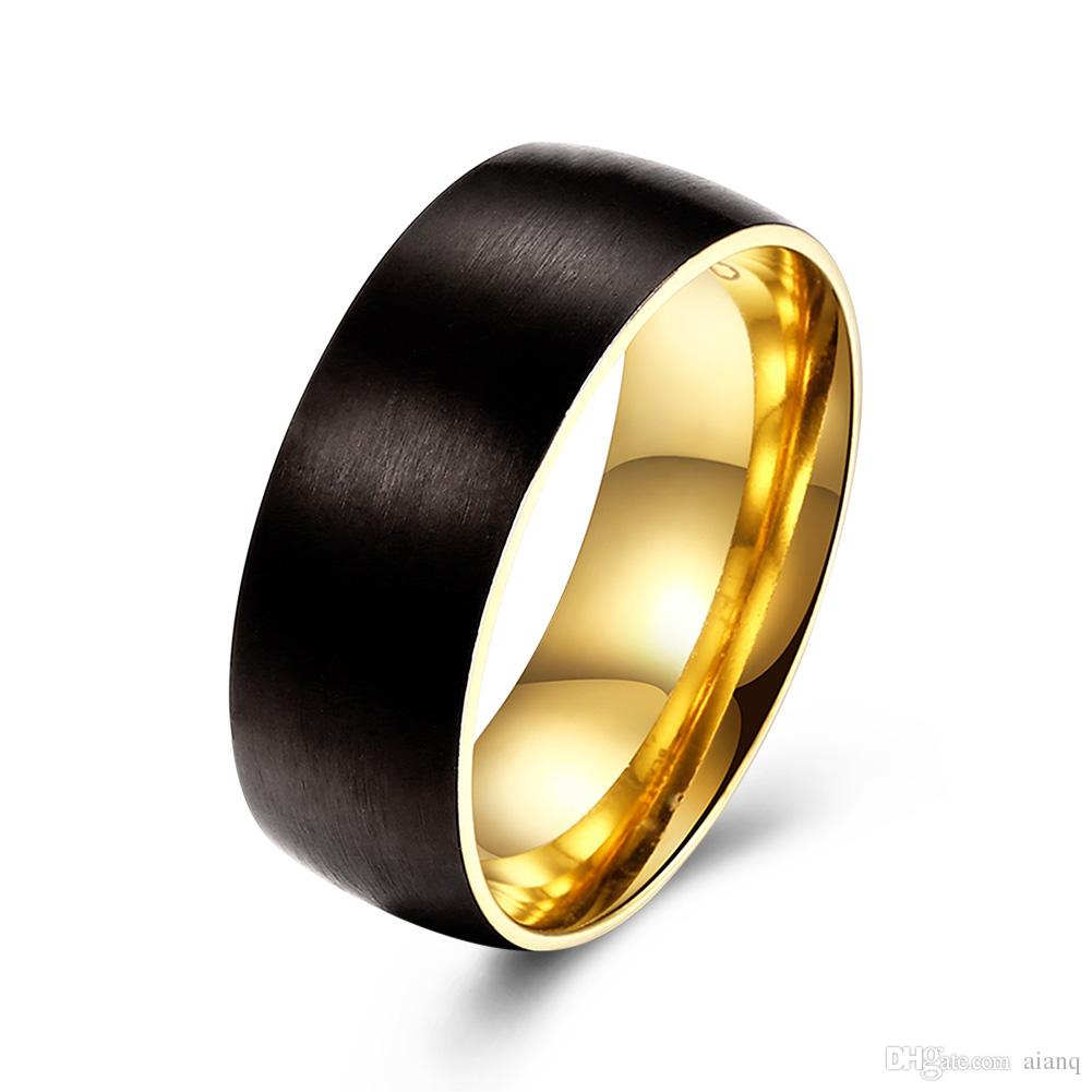 simple design outside the black men's stainless steel ring carbon