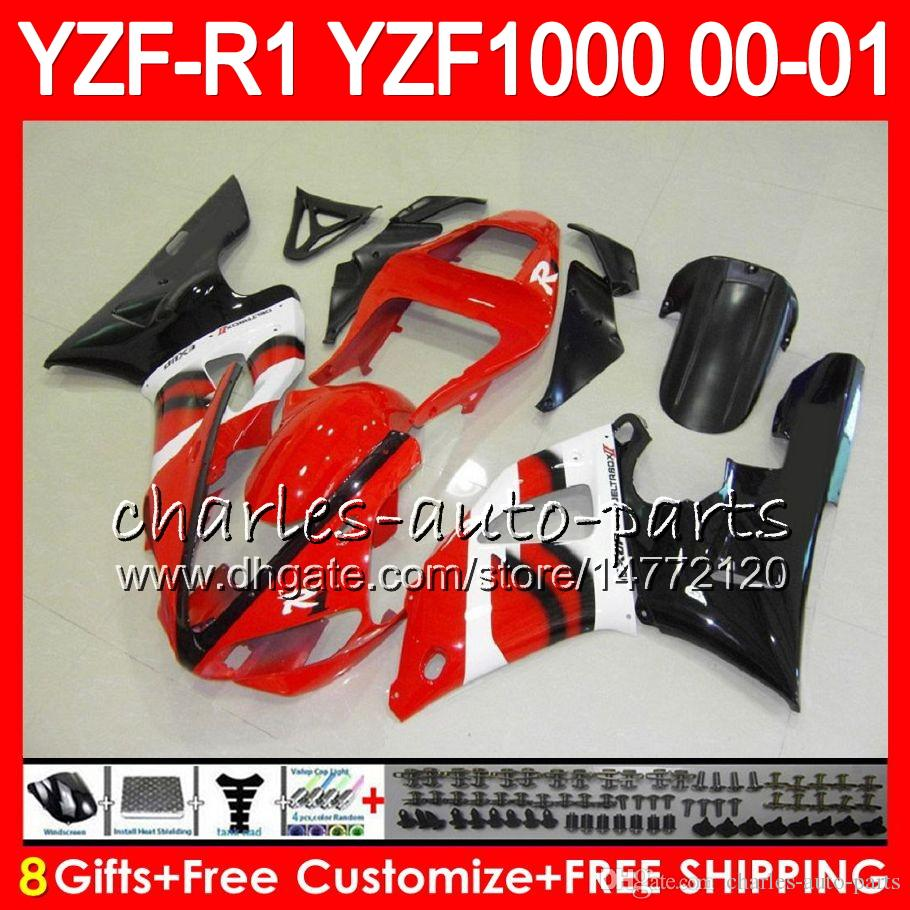Carrocería para YAMAHA YZF1000 YZFR1 00 01 98 99 YZF-R1000 Body 74HM10 TOP Rojo negro YZF 1000 R 1 YZF-R1 YZF R1 2000 2001 1998 1999 Kit de carenado
