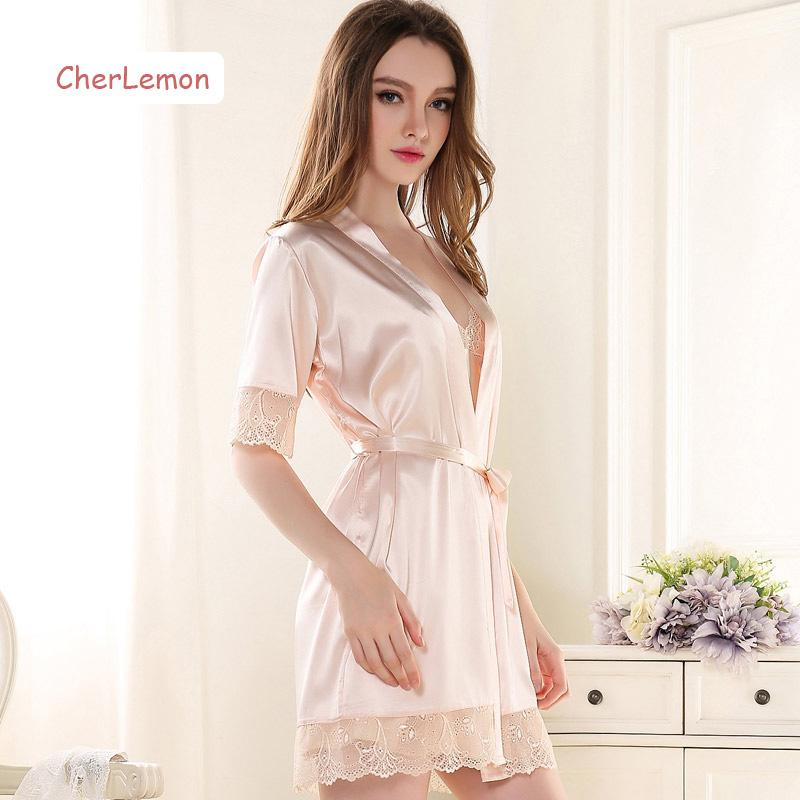 Wholesale- Summer Women Short Sleeve Robe & Gown Sets Silk Satin ...