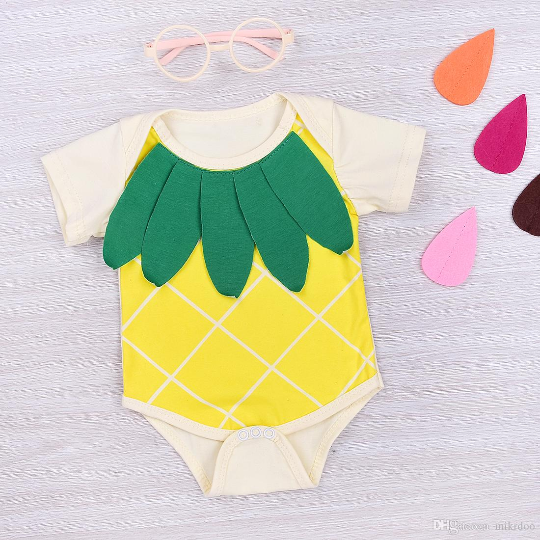 3e43b3ebecd 2019 Mikrdoo Funny Baby Boy Girls Clothes Cute Yellow Romper Cotton Fruit  Pineapple Short Sleeve Jumpsuit Cartoon Kids Casual Playsuit For 0 18M From  ...