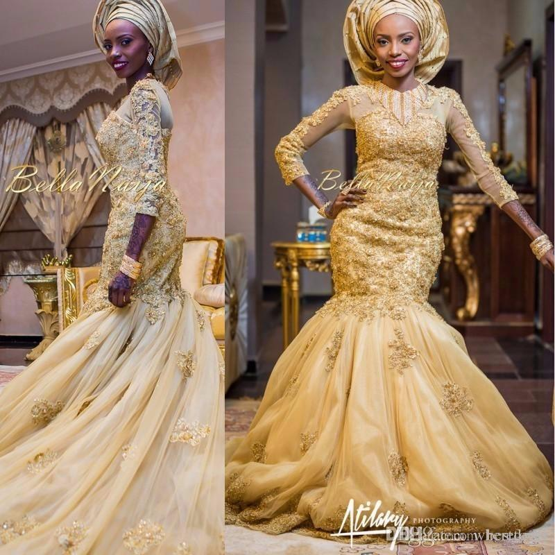 2017 Arabic Mermaid Gold Lace Wedding Dresses African