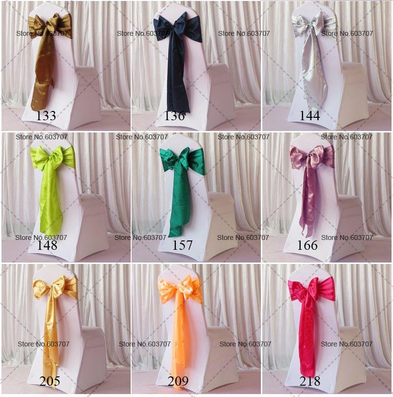 100 stks Groothandel meer dan 100 kleuren spandex stoel sjerpen geel / rood / blauw / groen / violet / roze satijnen stoel sjerp voor bruiloft