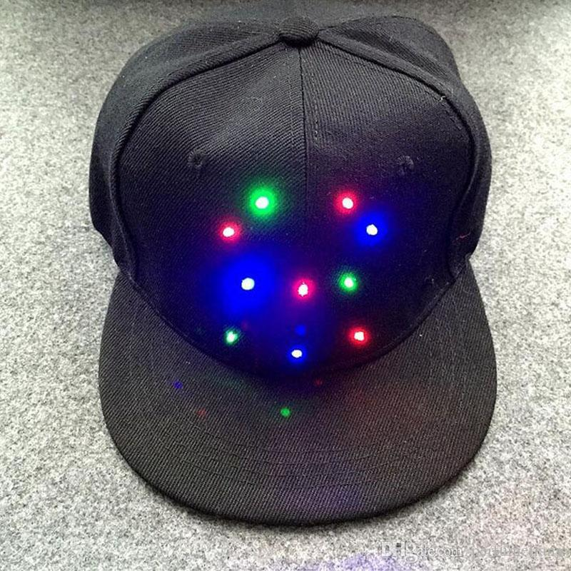 Unisex Caps Fashion LED Lighted Glow Club Party Black Fabric Hat Hip-Hop Jazz Stage Dance Performance Flashing Props ZA3326