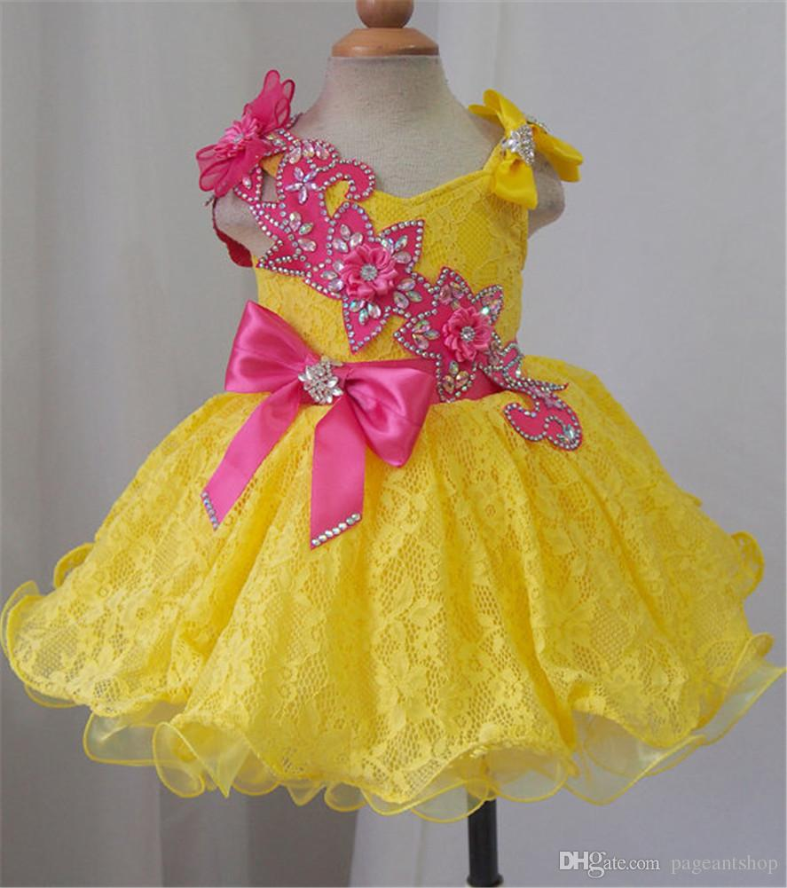 Baby Girls Soft Lace Pageant Cupcake Dresses Infant Mini Short Tutu Gowns Infant Birthday Prom Party Flower Girls Knee Length Bow Dresses