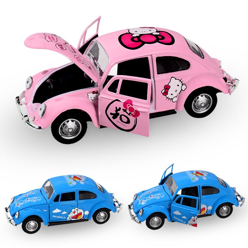 new doraemon hello kitty beetle car toy cartoon diecast metal cars model pull back car openable door kids toys girls gift wind up dinosaur toy wind up bugs