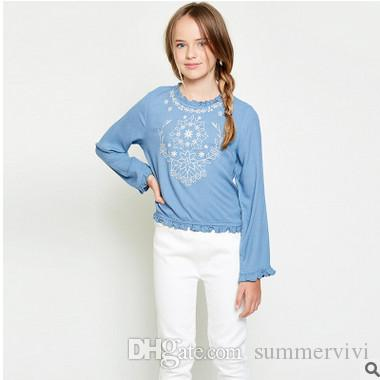 11db4272914 Big Girls Shirts Children Ruffle Collar Shirts Kids Embroidered Long ...