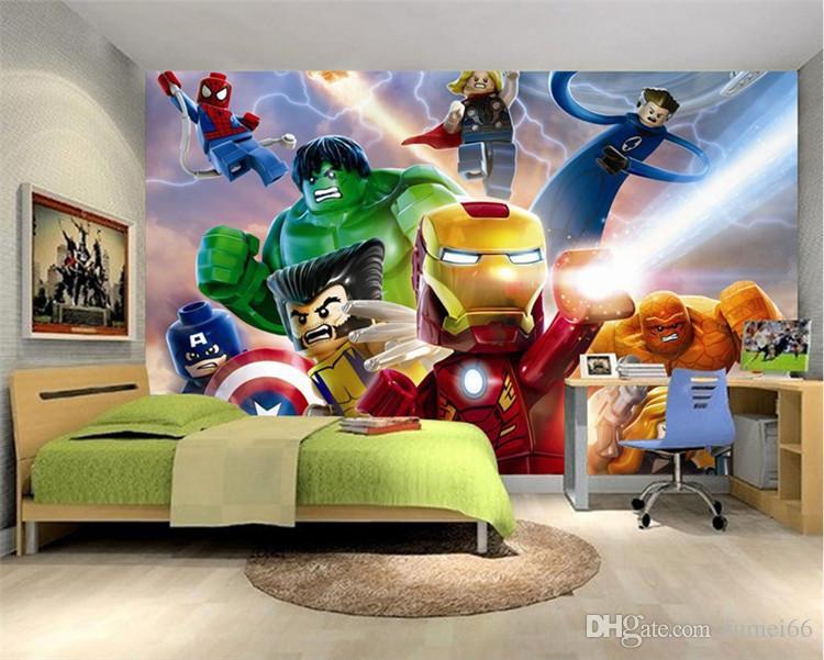 Compre Fondo De Pantalla De Lego Avengers 3d Para Paredes Mural Papel Tapiz De Dibujos Animados Niños Dormitorio Decoración De La Habitación Telón De